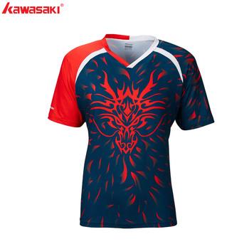 Kawasaki koszulka do gry w tenisa sportowa oddychająca koszula męska V-Neck Master Seris t-shirty dla mężczyzn ST-R1247 tanie i dobre opinie Krótki Poliester Pasuje prawda na wymiar weź swój normalny rozmiar Oddychające M~4XL 100 Polyester Badminton shirt