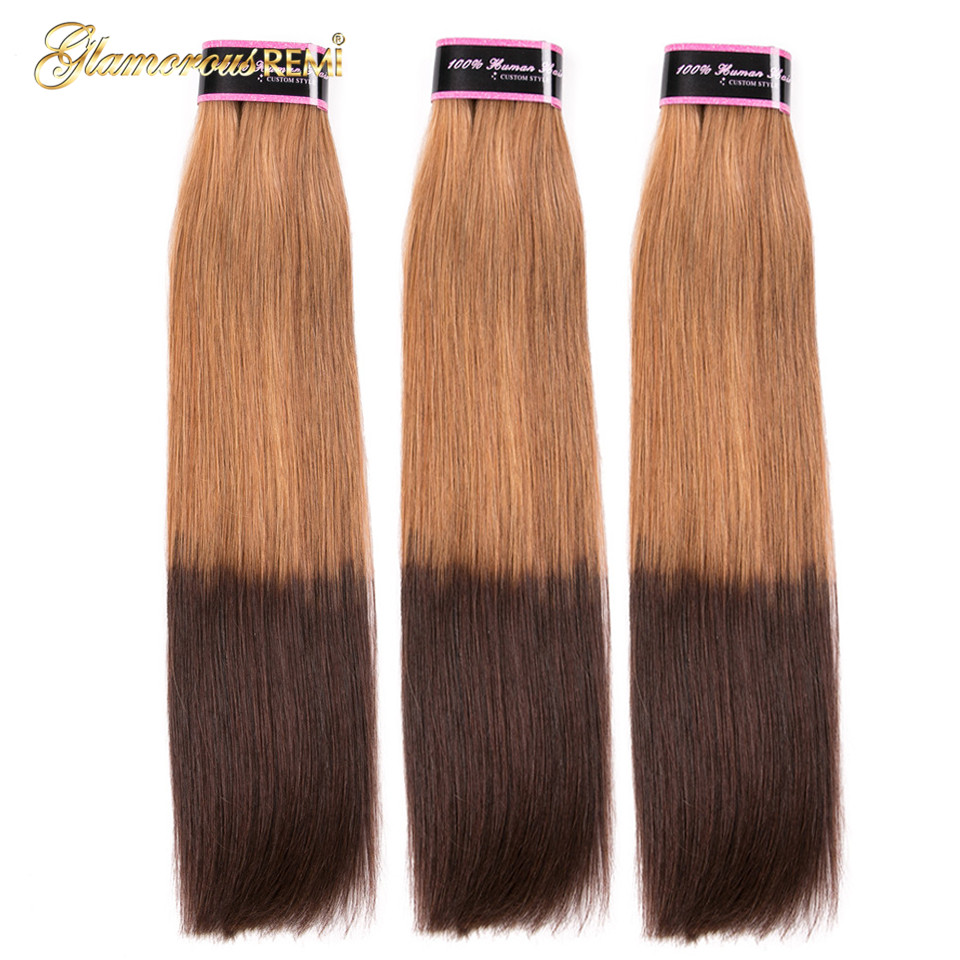 Image 4 - Glamorousremi Brazilian Straight Ombre Golden Brown T27/4 Human Hair Weave 3Bundles With Closure Long Remy Fumi Hair Extenions-in 3/4 Bundles with Closure from Hair Extensions & Wigs