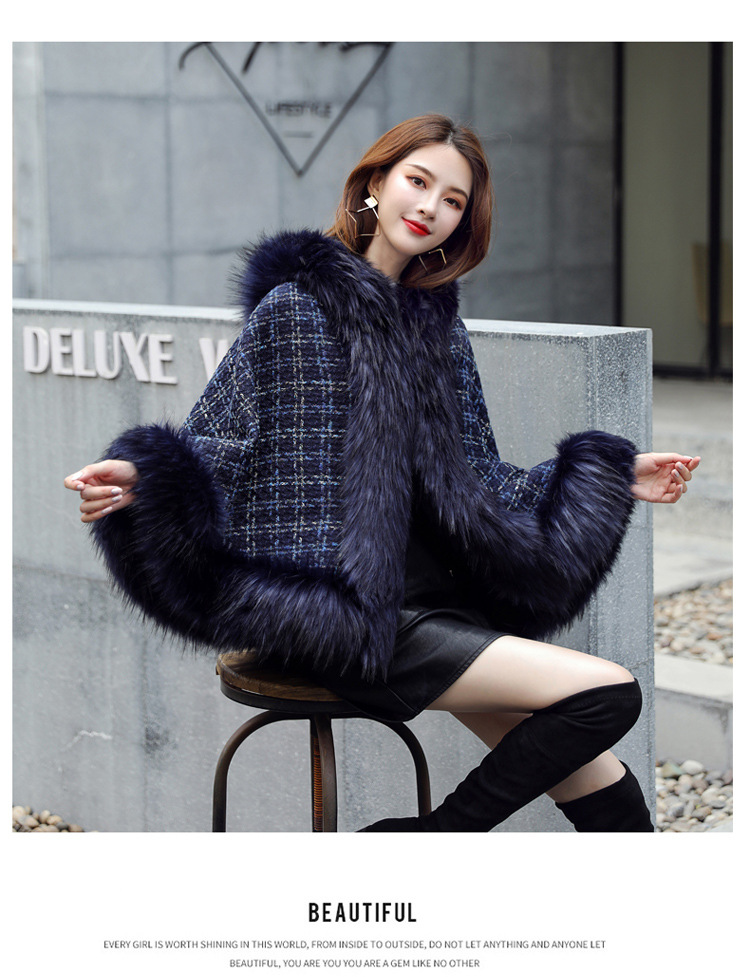 new European and American style fashion winter fur Hooded plaid woolen temperament shawl for women