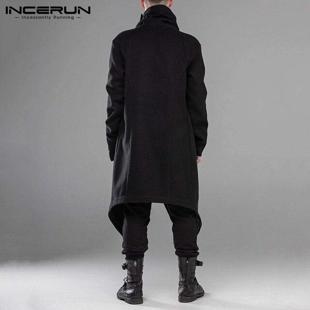 INCERUN Men Cloak Coats Streetwear Turtleneck Solid Long Sleeve Fashion Men Cape Outerwear Punk Style Irregular Jackets S-5XL 4