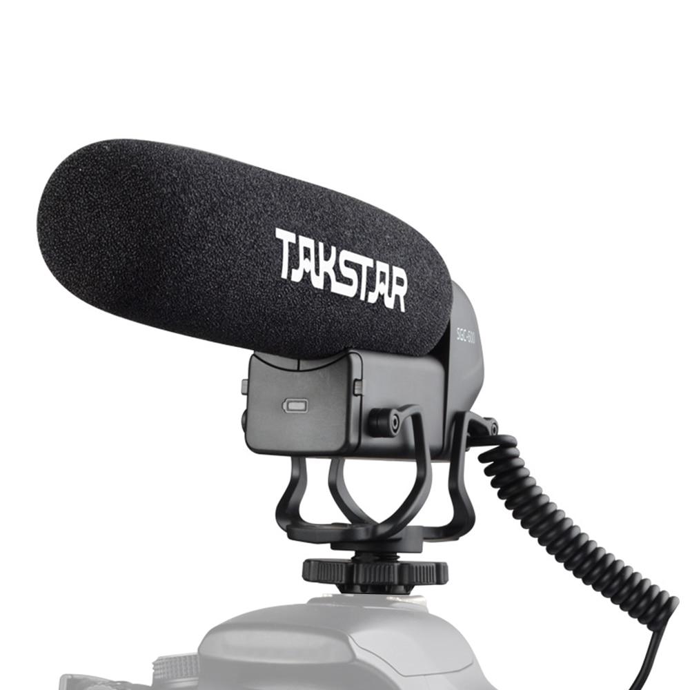 TAKSTAR микрофон на Камера конденсаторный микрофон интервью суперкардиоидный 3-х уровневый 3,5 мм разъем для цифровой зеркальной камеры Canon Nikon ...