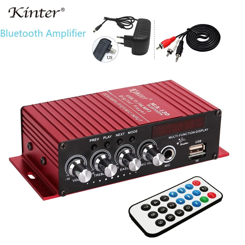 Kinter MA-130 Amplificador de Áudio Bluetooth 2.0CH com USB TF FM Microfone Estéreo de Alta Fidelidade de Som de entrada oferecem DC12V 3A adaptador de energia