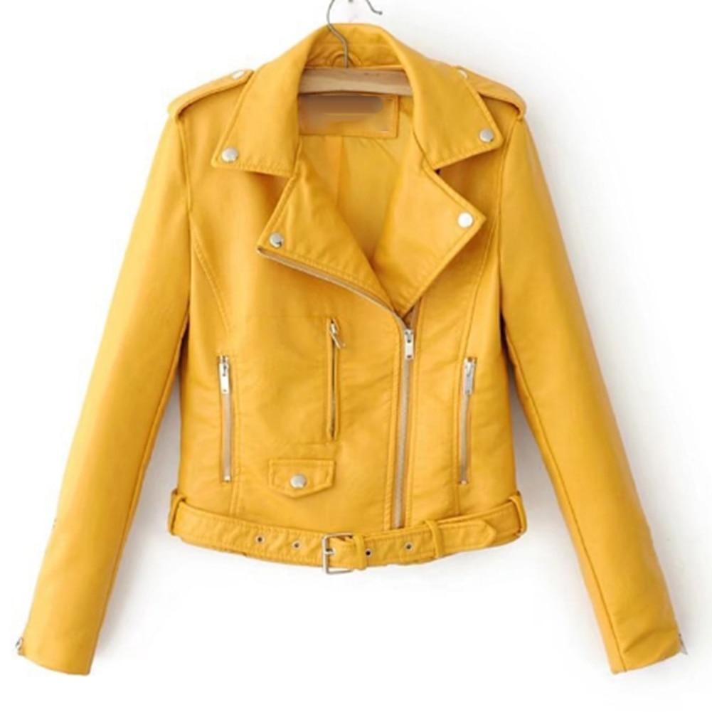 H6d7304757ebd4fce9bd2fb51dfad9e3fk Fashion Punk Women Coat Jacket Leather Long Sleeve Lapel Zipper Button Motorcycle Jacket Short Coat For Women's Clothings