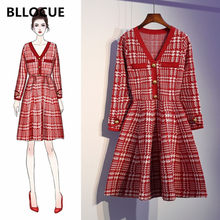 Bllocue Vrouwen Vintage Plaid Runway Designer Dress 2020 Herfst Lange Mouw Knoppen Mini Gebreide Plus Size Jurk(China)