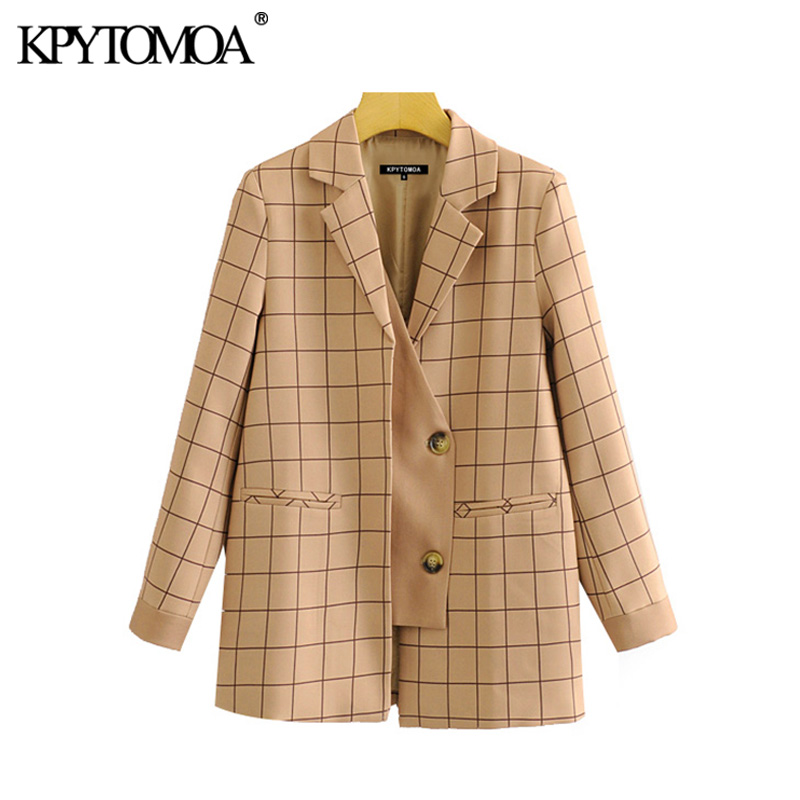 Vintage Stylish Patchwork Plaid Blazer Coat Women 2020 Fashion Notched Collar Long Sleeve Female Outerwear Chic Tops