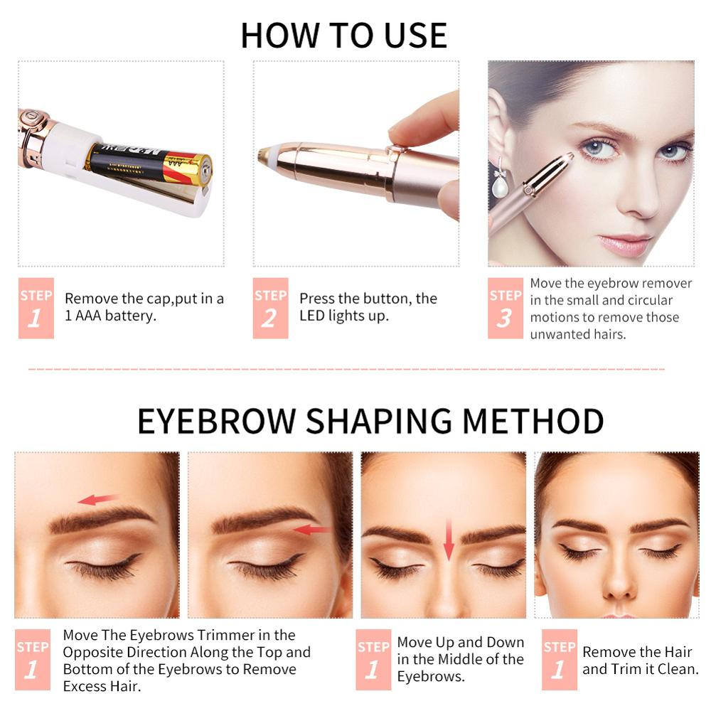 Mini Eyebrow Trimmer Epilators Lipstick Brows Pen Hair Remover Epilator Shaver Razor Instant Painless Eyebrow Razor Epilator 4