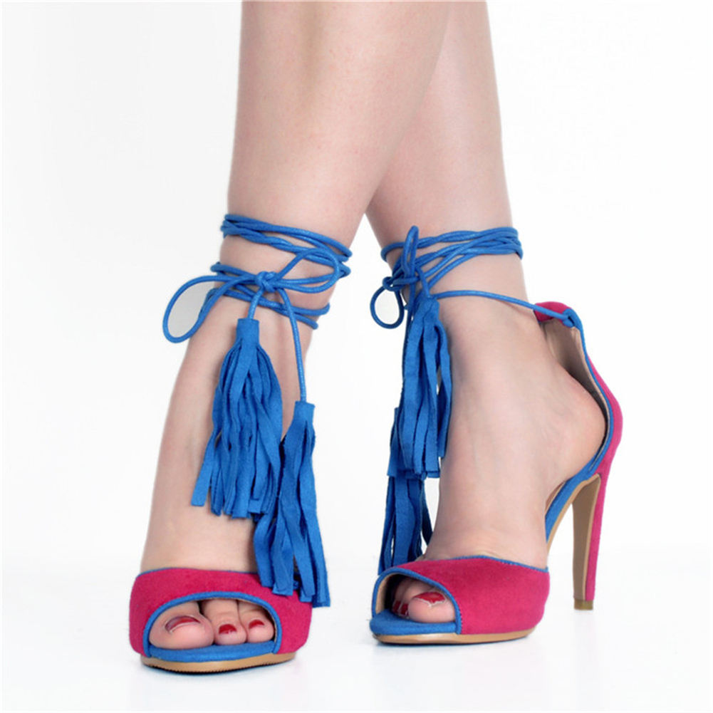 SARAIRIS Brand Plus Size 47 Shoelaces Thin High Heels ankle-wrap Women Shoes 2019 Party Sexy Fringe Summer Sandals Woman Shoes
