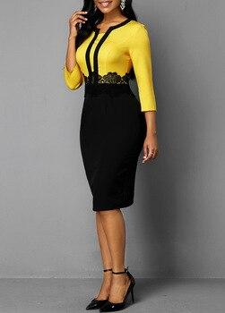 Plus Size Women 2019 Autumn Retro Yellow Stitching Large Size Dress Ladies Round Neck Casual 3/4 Sleeve Slim Bag Hip Step Dress 5