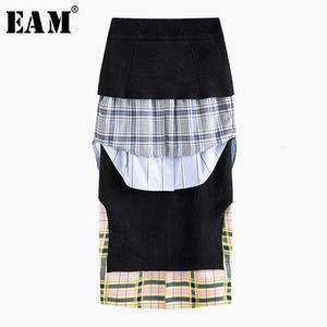 Temperament Skirt Women Plaid Ruffles Spring Split Black High-Elastic-Waist New Fashion
