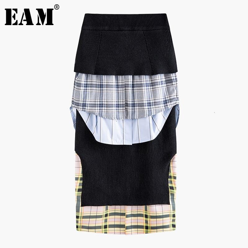 [EAM] High Elastic Waist Ruffles Black Plaid Split Temperament Half-body Skirt Women Fashion Tide New Spring Autumn 2020 1N040