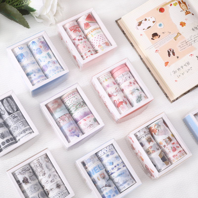 10 Rolls Masking Washi Tape Set Vintage Floral Plant Flamingo Decorative Sticker Diy Adhesive Label For Scrapbooking Planner