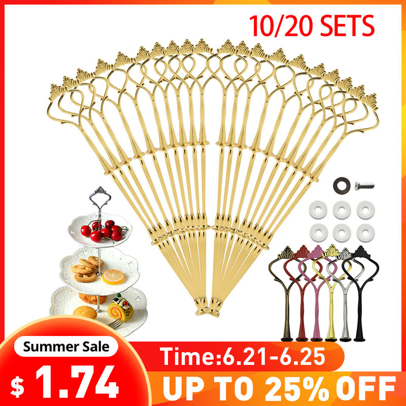 3 Tier Cake Stand 2 Tier Hardware Crown Metal Fitting Party Tray Cake Food Dessert Rack Cake Holder for Kitchen Home No Plate