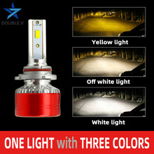 H7 Led-lampen Drie Kleuren H4 Mini Koplamp Antiniebla Lamp 6000 K 4300 K 3000 K Led Kit H11 9005 HB3 9006 HB4 H1 Mistlamp(China)