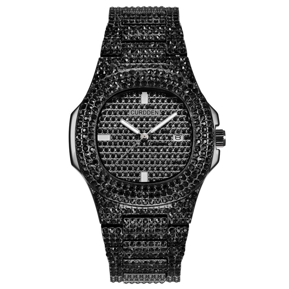 Montres hommes de mode de Luxe diamant Marque Date Quartz montre hommes en acier inoxydable doré montre d'affaires Montres de Marque de Luxe