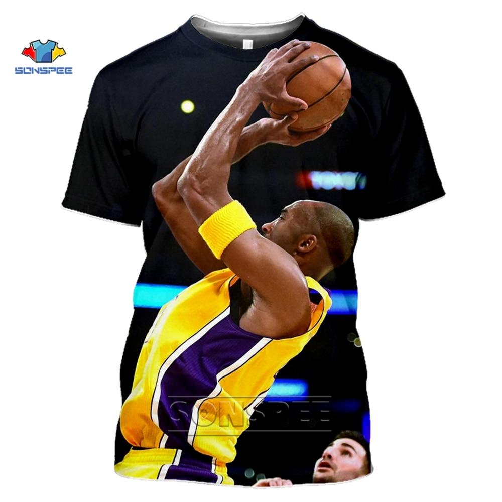 SONSPEE Kobe Bryant Jersey Summer Top Mens Oversized T Shirt 3D Print Kobe Bryant T-Shirt Short Sleeve Streetwear Gym Clothing