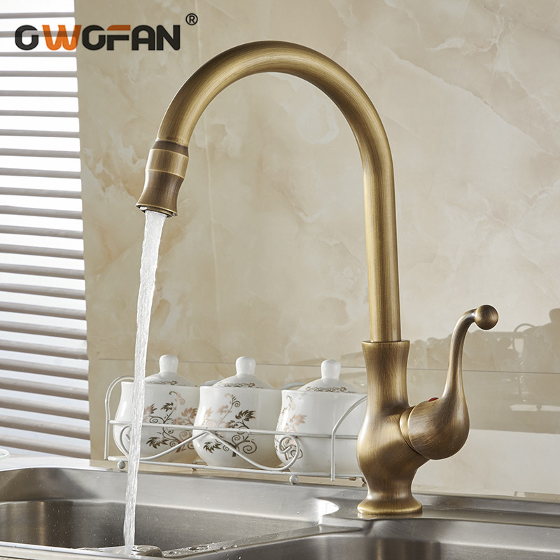 Kitchen Faucets Antique Color Cozinha Faucet Brass Swivel Spout Kitchen Faucet Single Handle Vessel Sink Mixer Tap HJ-6715F