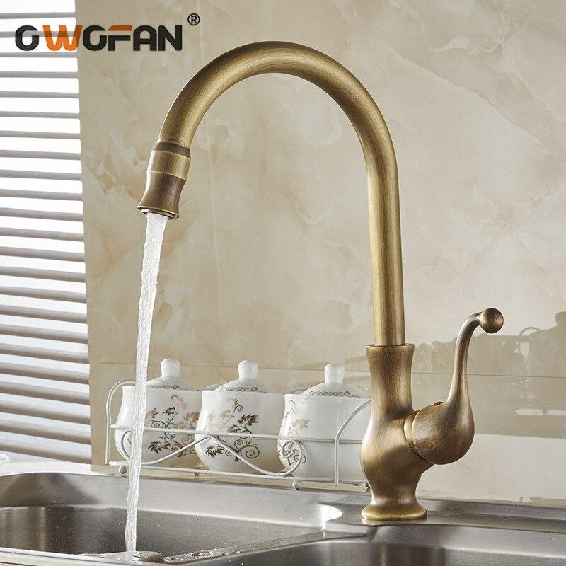 Torneiras de cozinha cor antiga torneira bronze bica giratória torneira da cozinha único punho vessel sink toque mixer HJ-6715F