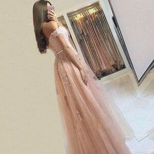 Image 2 - Đầm Lệch Vai Váy Đầm Dạ Dài Còn Hàng Tiệc Trang Trọng Vũ Hội Đồ Bầu Phối Ren/Dây Kéo Vestidos De Noite áo Dây Longue