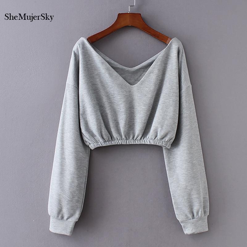 SheMujerSky Sexy Crop Top Hoodie Gray Long Sleeve V-neck Women Hoodies White Sweatshirt Womens Streetwear Sudaderas Mujer