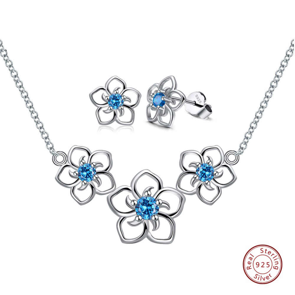 Effie królowa 925 Sterling Silver damska biżuteria zestawy 4 kolory AAA cyrkon kwiat kształt naszyjniki kolczyki kolczyki zestawy biżuterii TSS23
