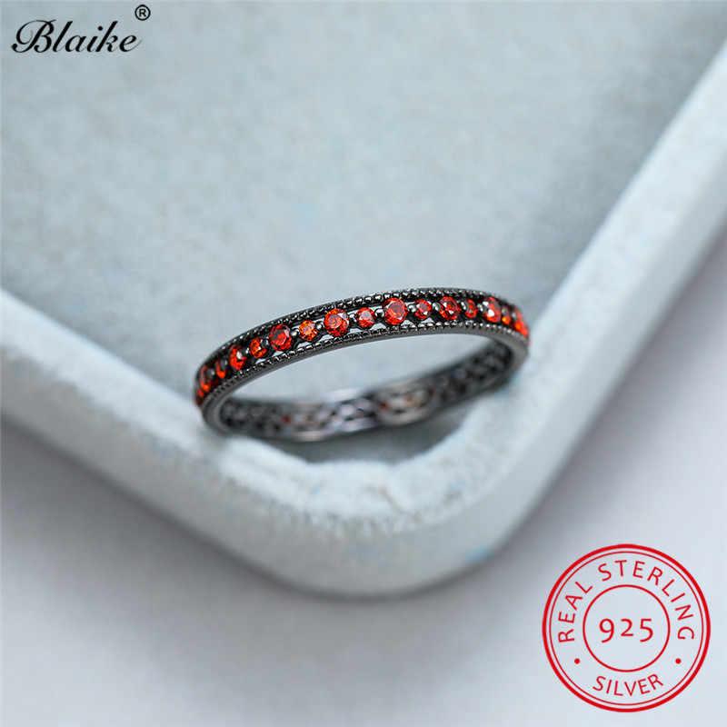 מעדן אדום כחול אבן דק טבעת 925 סטרלינג כסף שחור זהב חתונה להקות מינימליסטי לערום טבעות נשים זירקון תכשיטים