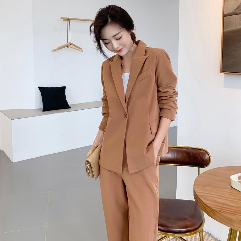 2020 2 Pieces Set  Spring Autumn Women Pant Suits Single-button Blazer Jacket & Ankle-length Pant Workwear Female Blazer Suits