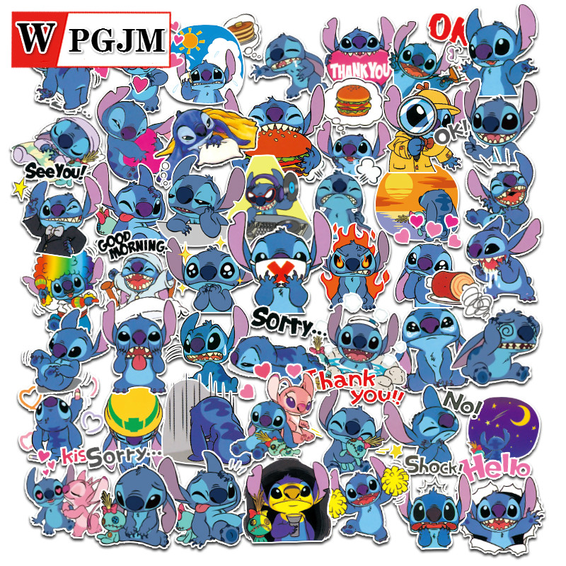 52PCS Cartoon Stickers Stitch Stickers Graffiti Punk Waterproof Decal Laptop Motorcycle Luggage Snowboard Car Sticker