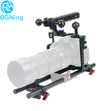 BGNing الألومنيوم SLR هيكل قفصي الشكل للكاميرا ل GH4 /GH5 دعم عدسة دعامة حامل ث/25 سنتيمتر 40 سنتيمتر قضيب من ألياف الكربون المشبك السكك الحديدية جبل عدة