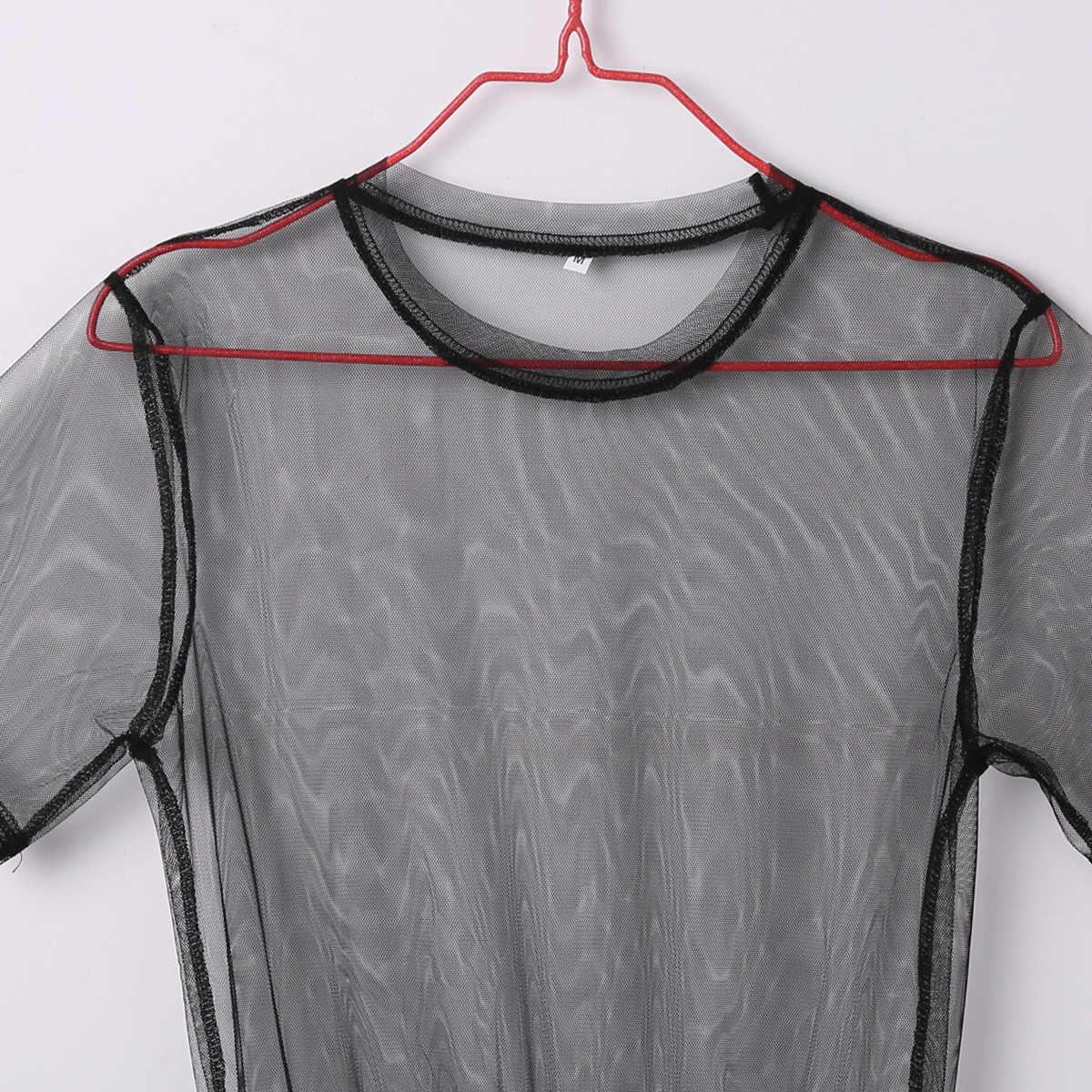 الصيف Volie شبكة فساتين المرأة انظر من خلال الأسود الشاش شبكة فستان الشمس نصف كم الدانتيل مثير أبلى 1-قطعة الصيف