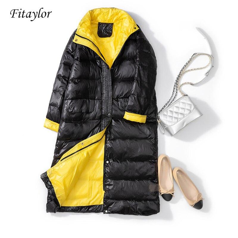 Fitaylor New Women 90% Ultra Light White Duck Down Jacket Winter Long Coat Female Loose Windproof Down Coat