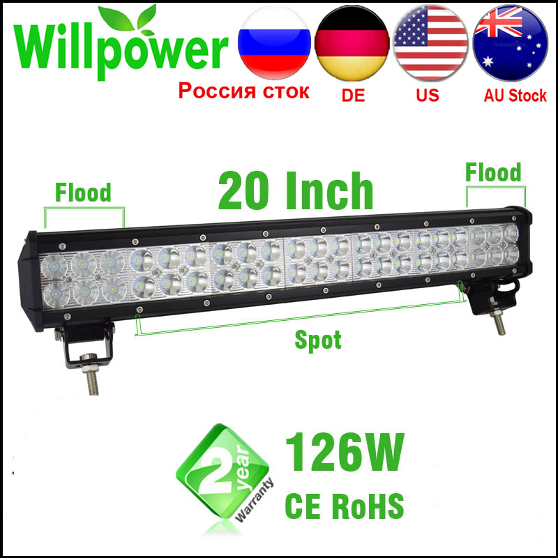 FREE TAX 12v Dual Rows Led Driving Light IP67 Waterproof Work Light 126W 20 Inch Offroad Car Led Light Bar Offroad 4x4