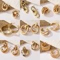 Neue Mode Gold Farbe Metall Tropfen Ohrringe Edelstahl Einfache Knoten Twist Ohrringe Für Frauen Erklärung Schmuck 2020 Pendiente