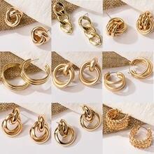 Boucles d'oreilles à nœud torsadé pour femmes, en métal, couleur or, acier inoxydable, Simple, bijoux de déclaration, nouvelle collection 2020