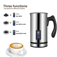 3 Functions Electric Milk Frother Milk Steamer Creamer Milk Heater 304 Stainless Steel Cappuccino Bubble Coffee Chocolate Maker