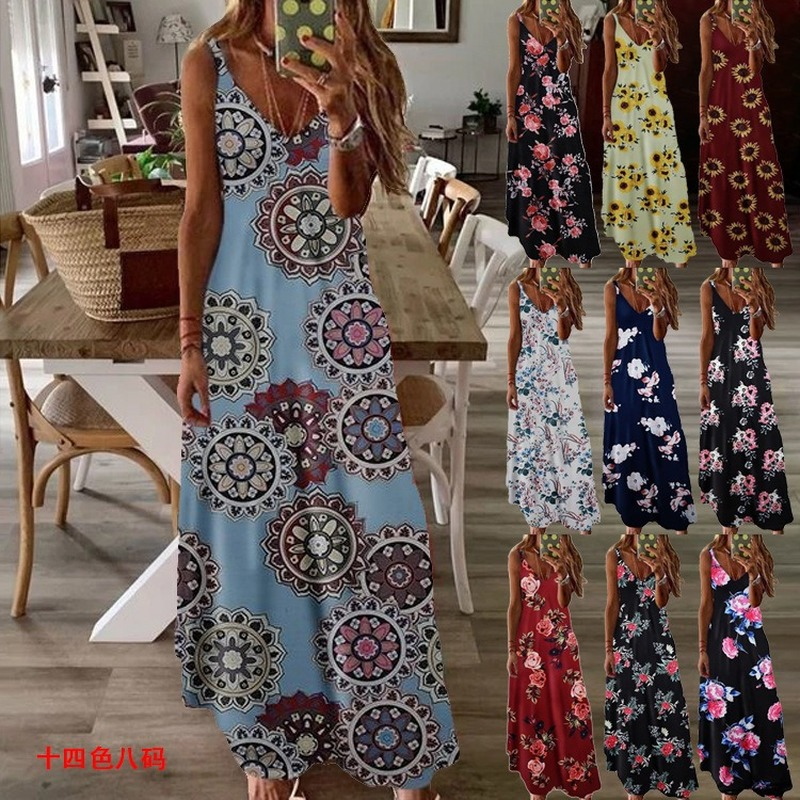 Dresses Women Floral Printed Sexy Robe Long Boho Summer 2020 Sleeveless V-neck Loose Maxi Dress Plus Size Women Tank Dress