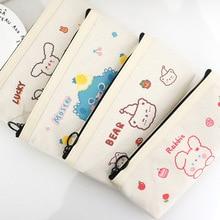 Cartoon Bear Canvas Pencil Case Simple Large-capacity Cosmetic Bag Student Storage Bag Pencil Pencil Case Coin Purse