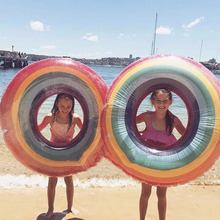Child Adult Large Transparent Rainbow Swimming Ring Inflatable Circle Lifebuoy Summer Hawaii Beach Party Pool Float Games Toys