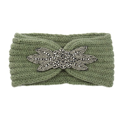 Women Knitted Diamond Headband Six Leaf Gemstone Headwrap Wool Warmer Hairwears