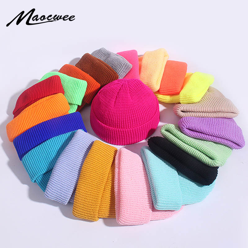 Unisex Winter Child Ribbed Knitted Cuffed Short Melon Cap Solid Color Skullcap Baggy Retro Ski Fisherman Docker Beanie Hat