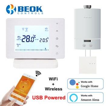 Beok Drahtlose Wifi Smart Thermostat für Gas Kessel Temperatur Controller USB Powered Arbeitet mit Google Home Alexa