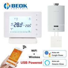 Beok sem fio wifi termostato inteligente para caldeira de gás controlador temperatura usb alimentado funciona com o google casa alexa