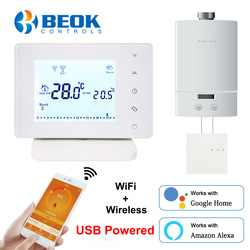 Beok Wireless Wifi Smart Thermostat for Gas Boiler Temperature Controller USB Powered Works with Google Home Alexa