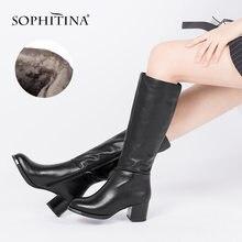 Женские сапоги на молнии sophitina зимние до колена из натуральной