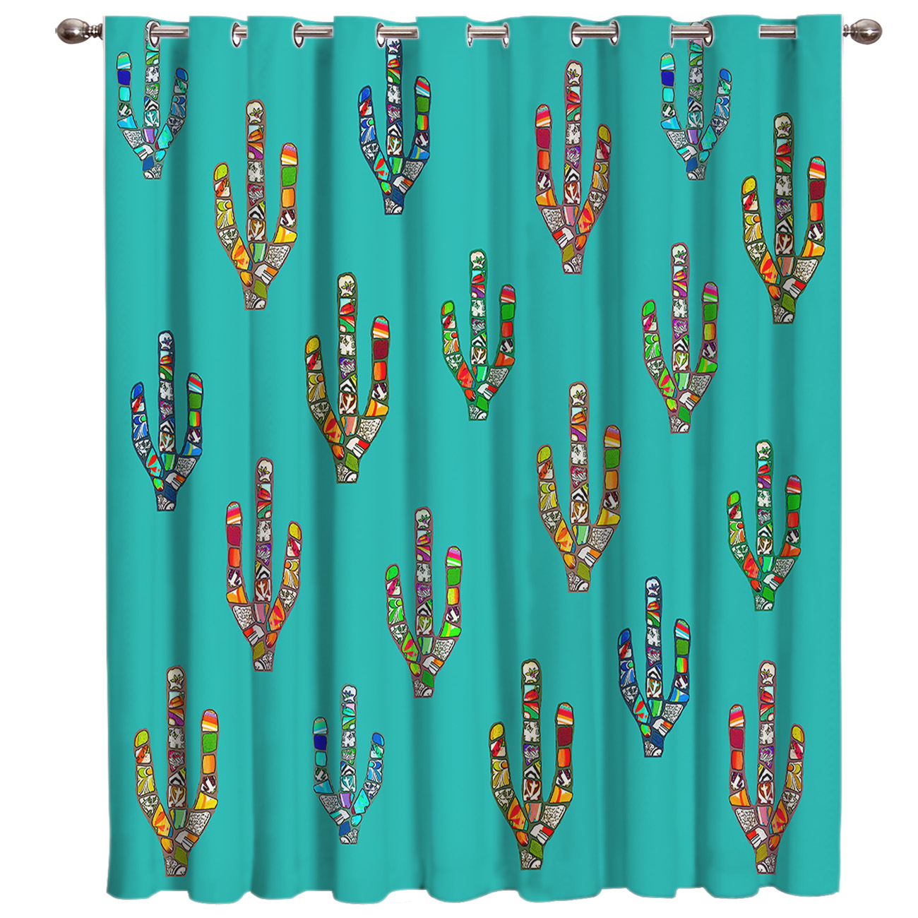 Cactus Geometric Design Window Treatments Curtains Valance Window Curtains Dark Curtain Lights Bedroom Outdoor Indoor