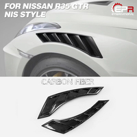 Car styling For Nissan R35 GTR 08 17 NIS Style Carbon Fiber Fender Vent Glossy Finish Wheel Arch Cover Air Duct Fit CBA DBA MY17