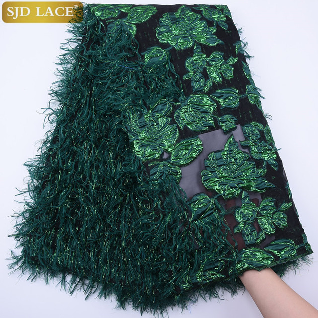 $ US $43.81 SJD LACE 2020 Latest Green French Tulle Lace Fabric Fluffy Feather African Lace Fabric Floral Embroidery For Wedding Dress A1789