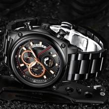 LIGE New Mens Watches Top Brand Fashion Sports Wristwatch Chronograph Quartz Clock Stainless Steel Waterproof Watch For Men +Box