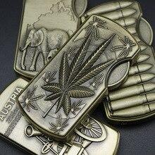 Butane Lighter Creative Retro Bronze Embossed Metal Windproof Turbine Lighter Smoking Accessories Gift for Men Cool Lighter