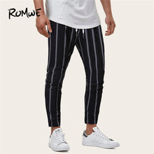 купить ROMWE Men Relaxed Striped Pants Trousers Mid Waist Black Pants Mens Fashion Clothing Drawstring Waist Casual Pants Fall Pants дешево