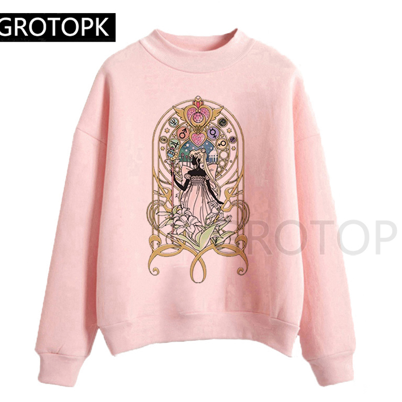Cartoon Sailor Moon Hoodies Kawaii Print Sweatshirt Long Sleeve Korean Women Clothes 2019 New Hot Casual Streetwear Pullover